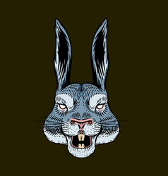 Screaming hare or mad rabbit for tattoo or label vector