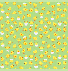 seamless easter pattern with chicks on green back vector image