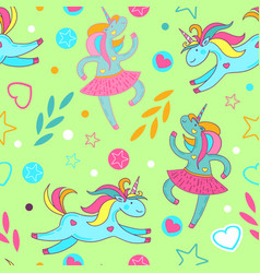 Seamless pattern of cute cartoon unicorns stars vector