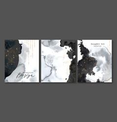 set creative postcards with black watercolor vector image
