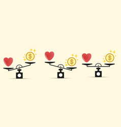 set heart money and on the scales balance vector image