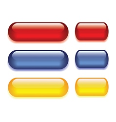 set of six colored glass buttons red blue yellow vector image