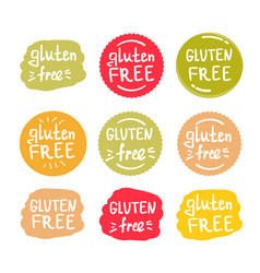 set round green labels with text gluten free vector image