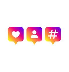 social media modern like follower hashtag vector image