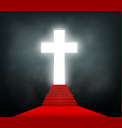 staircase with a red carpet to glowing cross vector image
