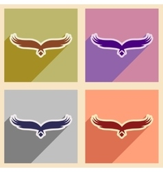 Stylish assembly silhouettes eagle logo vector