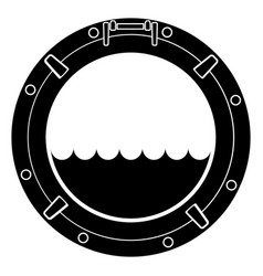 Stylized black and white boat window symbol vector