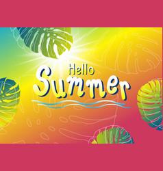 summer banner design monstera tropical leaves vector image