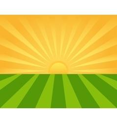 Sunrise on green field vector
