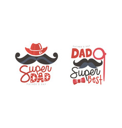 super dad labels set fathers day black and red vector image