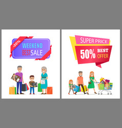 super price best offer off label on poster family vector image