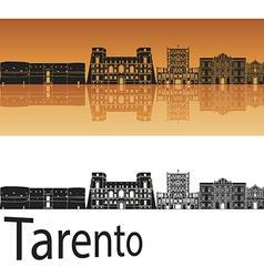 Tarento skyline in orange background vector