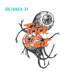 trick or treat eye greeting card vector image