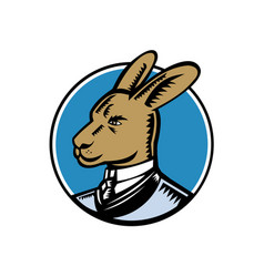 Wallaby wearing business suit circle woodcut color vector