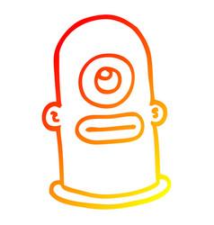 Warm gradient line drawing cartoon cyclops face vector