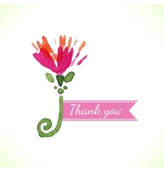 Watercolor beautiful decorative flower with thank vector