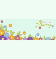 welcome spring season cute flower banner vector image
