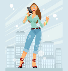 woman on a city background vector image