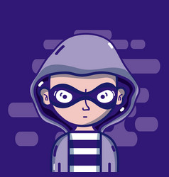 Young hacker male vector