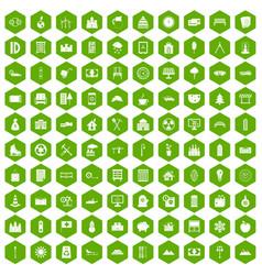 100 villa icons hexagon green vector