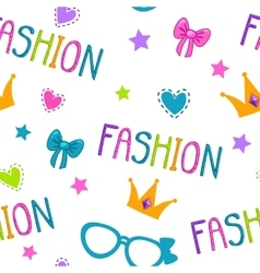 Cute seamless pattern with fashion lettering vector image