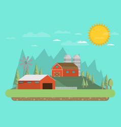 Farm flat landscape natural background organic vector