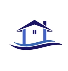 House and waves logo vector image