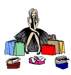 thinking woman in shop vector image vector image
