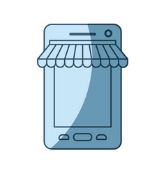 blue shading silhouette of smartphone online store vector image vector image