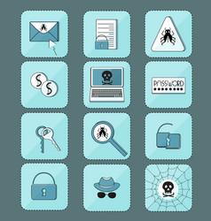 hacker attack computer virus set of icons vector image