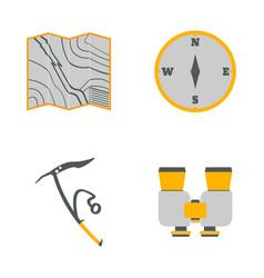 Map compass ice ax binoculars flat icons vector