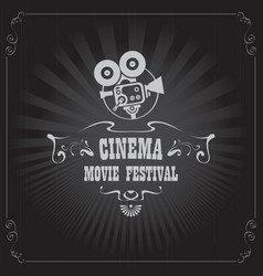 movie festival poster with old fashioned camera vector image vector image