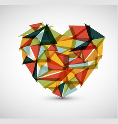 retro heart made from color triangles vector image