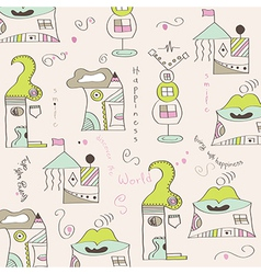 seamless pattern with surreal houses vector image vector image