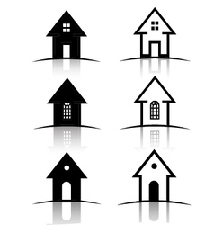 Set of 6 House icons vector image vector image
