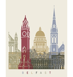 Belfast skyline poster vector image