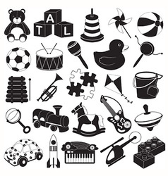 Children Toys Icon Set vector image