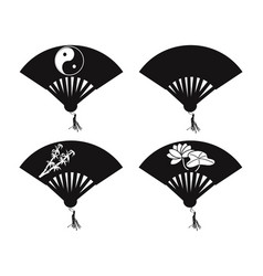 chinese fan icons vector image