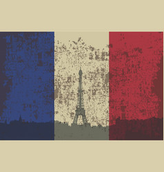 flag of france and contour of the city of paris vector image