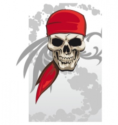 pirate skull with bandanna vector image vector image