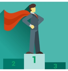 Super businessman standing on the top of the graph vector image vector image