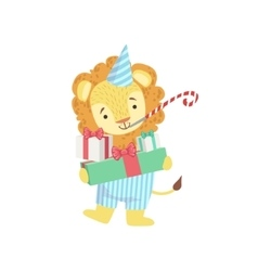 Lion Cute Animal Character Attending Birthday vector image