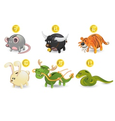 piggy bank of chinese zodiacs vector image
