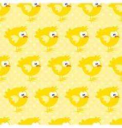 Seamless pattern with chicken on yellow dotted vector image
