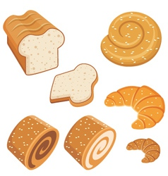 Set of loaves and bread vector image vector image