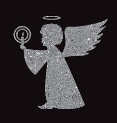 silver angel silhouette on black background vector image vector image