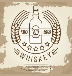 vintage whiskey label design - retro drink poster vector image vector image