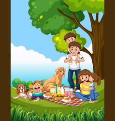 A family picnic scene vector