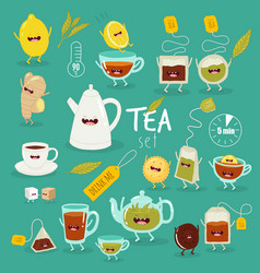 animated tea accessories invite to drink tea vector image