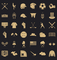 baseball bat icons set simple style vector image